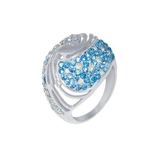 Сребърен пръстен с кристали от Swarovski®  SP627 Aquamarine and Crystal