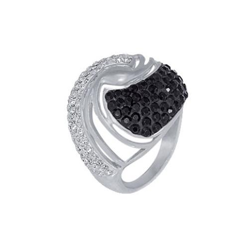 Сребърен пръстен с кристали от Swarovski®  SP627 Jet and Crystal