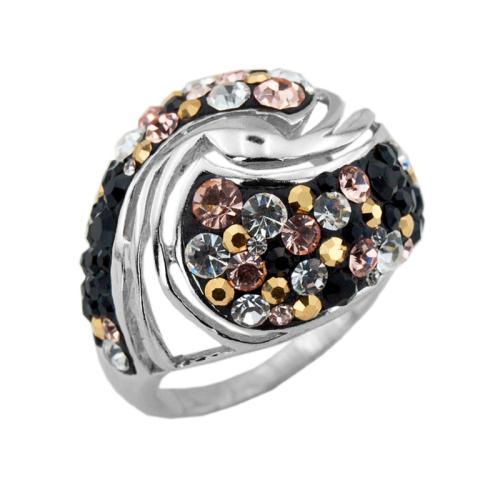 Сребърен пръстен с кристали от Swarovski® SP627 Jet, Light Peach, Metallic Sunshine