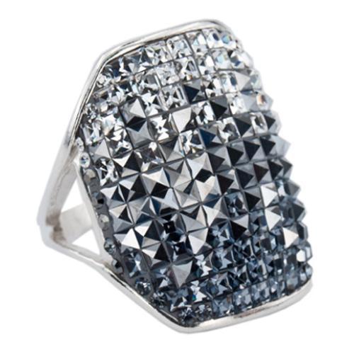 Сребърен пръстен с кристали от Swarovski®  SP628 Crystal, Hematite and Steel