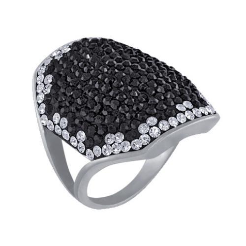 Сребърен пръстен с кристали от Swarovski®  SP628 Black and White