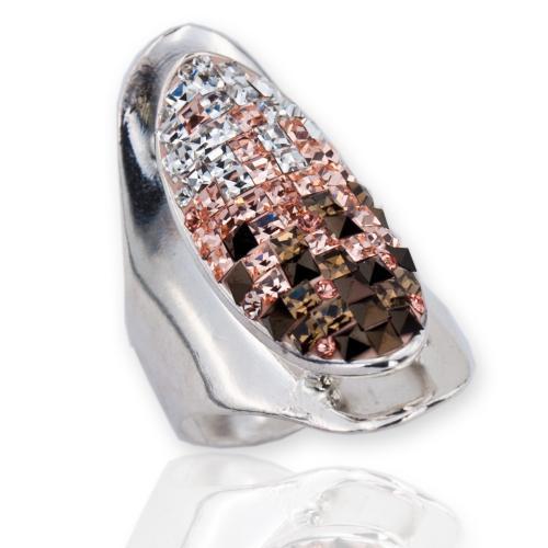 Сребърен пръстен с кристали от Swarovski®  SP629 Crystal, Pinky Peach, Smoked Topaz