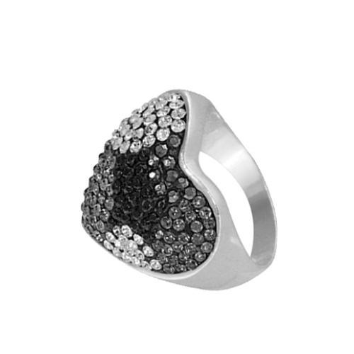 Сребърен пръстен с кристали от Swarovski® SP630 Crystal, Jet, Black Diamond