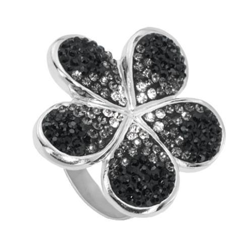 Сребърен пръстен с кристали от Swarovski®  SP631 Jet and Crystal
