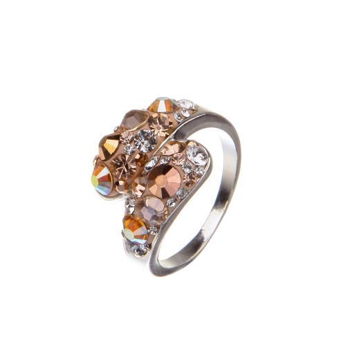 Сребърен пръстен с кристали от Swarovski®  SP633 Peach Gold