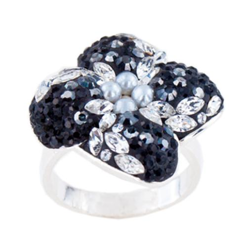 Сребърен пръстен с кристали от Swarovski®  SP639 Black Marquise