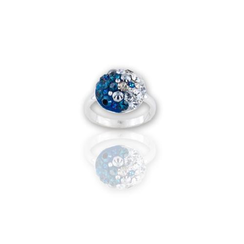 Сребърен пръстен с кристали от Swarovski®  SP640 Bermuda Blue and Crystal