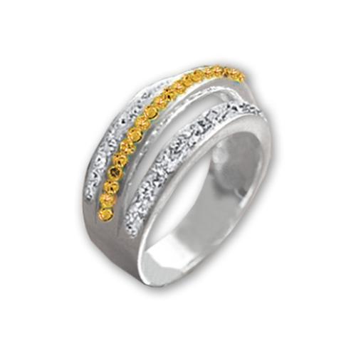 Сребърен пръстен с кристали от Swarovski®  SP644 Crystal & Light Topaz