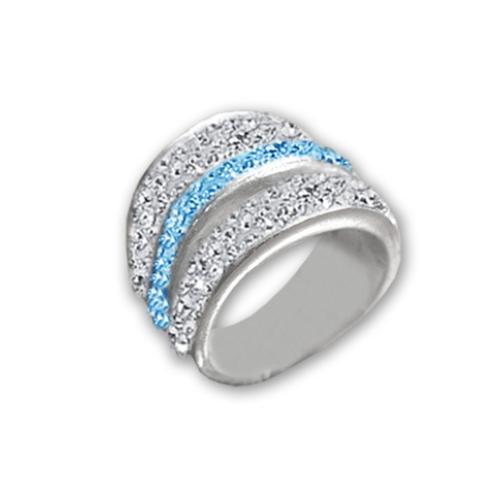 Сребърен пръстен с кристали от Swarovski®  SP645 Crystal and Aquamarine