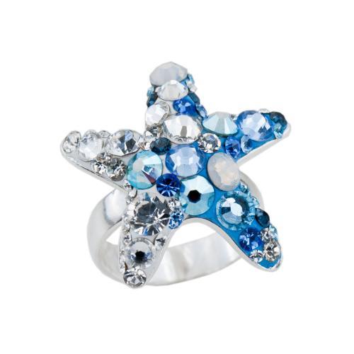 Сребърен пръстен с кристали от Swarovski®  SP646 Deep Blue