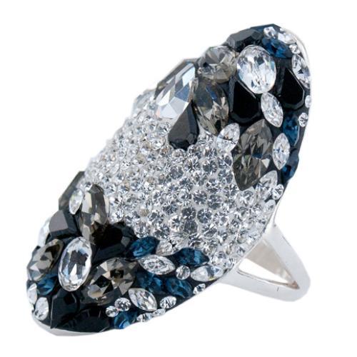Сребърен пръстен с кристали от Swarovski®  SP647 Blue Marquise