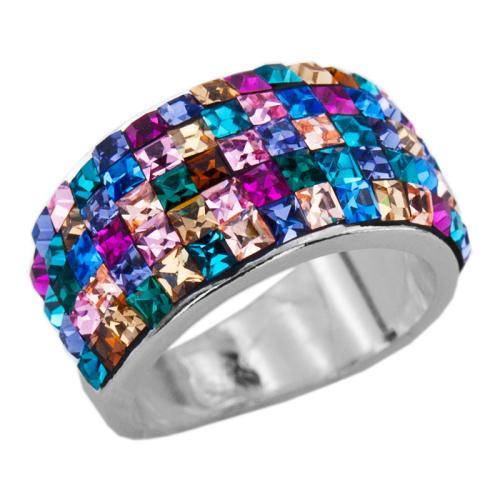 Сребърен пръстен с кристали от Swarovski®  SP648 Multicolor