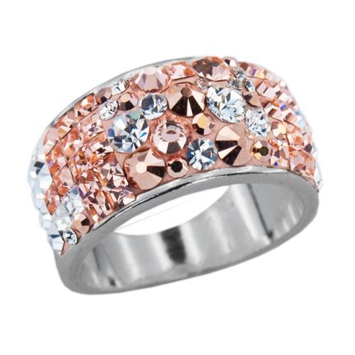 Сребърен пръстен с кристали от Swarovski®  SP648 Peach Gold