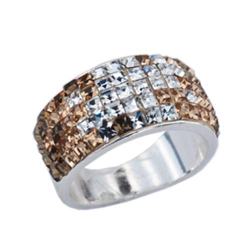 Сребърен пръстен с кристали от Swarovski®  SP648 Topaz квадрати