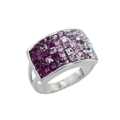 Сребърен пръстен с кристали от Swarovski® SP650 Amethyst and Crystal Квадрати