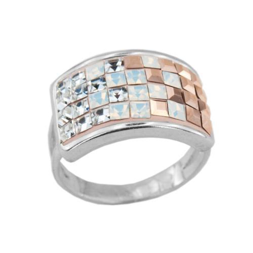 Сребърен Пръстен С Кристали От Swarovski® SP650 White Opal and Rose Gold Квадрати