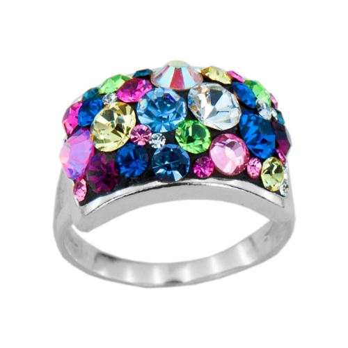 Сребърен Пръстен С Кристали От Swarovski® SP650 Multicolor