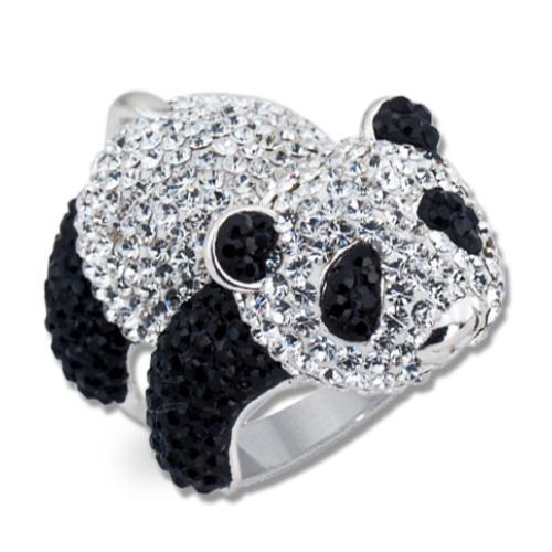 Сребърен пръстен с кристали от Swarovski®  SP651 Panda