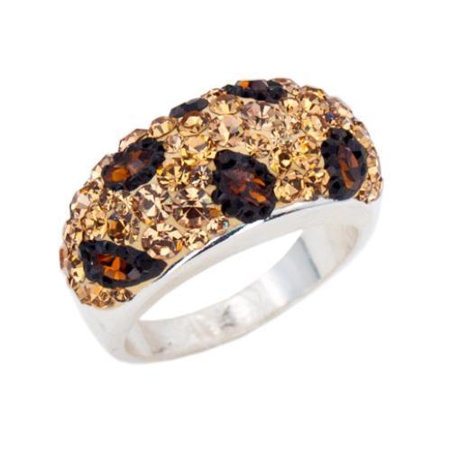 Сребърен пръстен с кристали от Swarovski®  SP653 Leopard