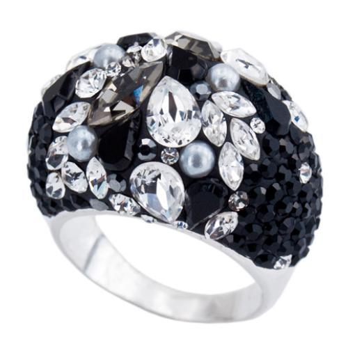 Сребърен пръстен с кристали от Swarovski®  SP654 Black Marquise