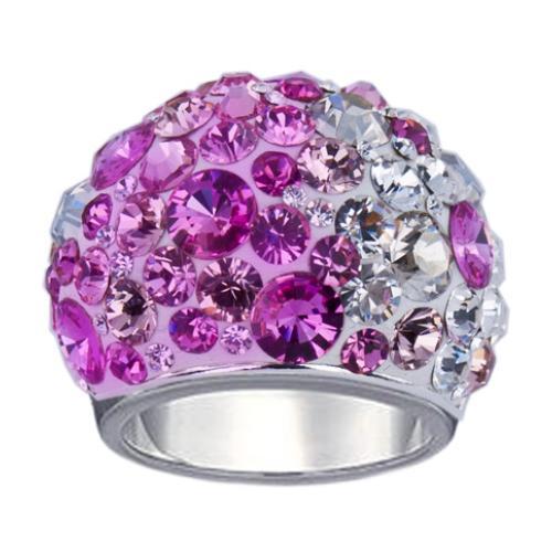 Сребърен пръстен с кристали от Swarovski®  SP655 Rose Shade