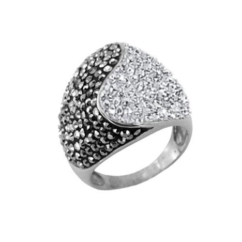 Сребърен пръстен с кристали от Swarovski®  SP662 Crystal and Hematite