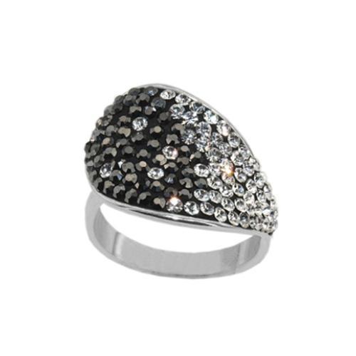 Сребърен пръстен с кристали от Swarovski®  SP677 Crystal And Hematite