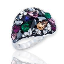 Сребърен пръстен с кристали от Swarovski®  SP677 Topaz Квадрати
