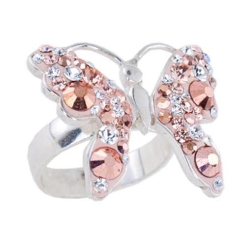 Сребърен пръстен с кристали от Swarovski®  SP680 Peach Gold