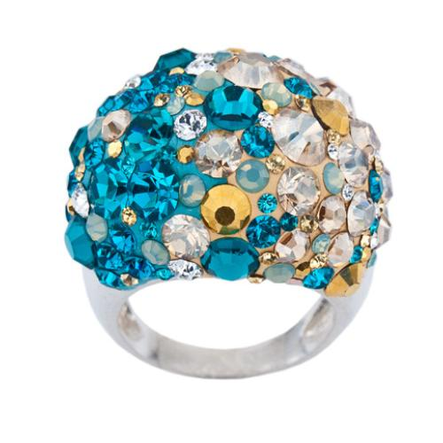 Сребърен пръстен с кристали от Swarovski®  SP681 Blue Zircon and Golden Shadow