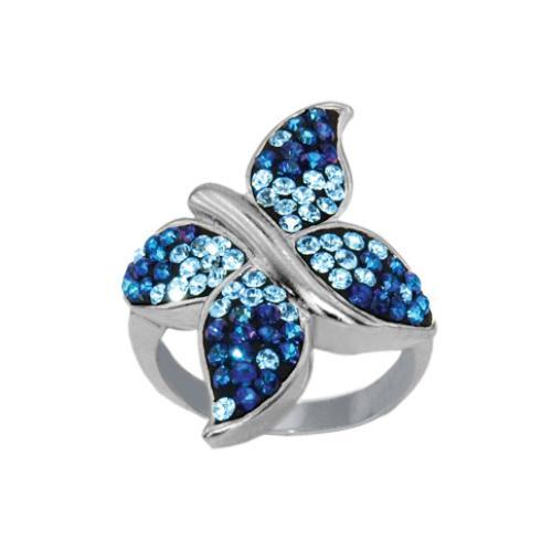 Сребърен пръстен с кристали от Swarovski®  SP689 Bermuda Blue and Aquamarine