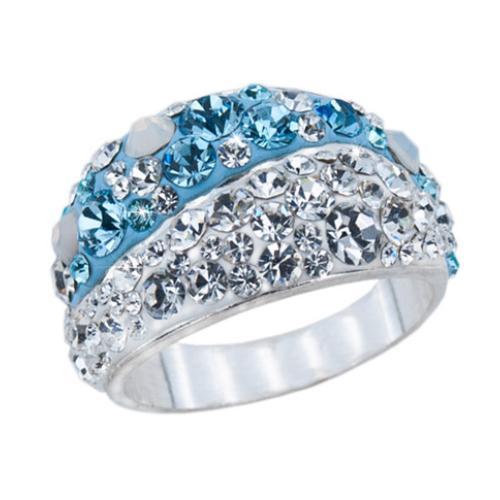 Сребърен пръстен с кристали от Swarovski®  SP701 Deep Blue