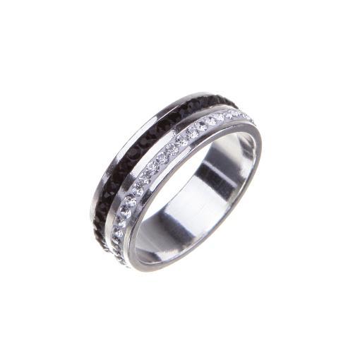 Сребърен пръстен с кристали от Swarovski®  SP707 Black and White