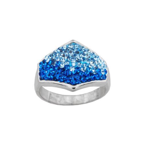 Сребърен пръстен с кристали от Swarovski®  SP708 Sapphite and Aquamarine
