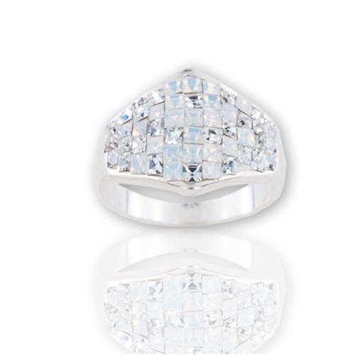 Сребърен пръстен с кристали от Swarovski®  SP708 White Opal and Crystal