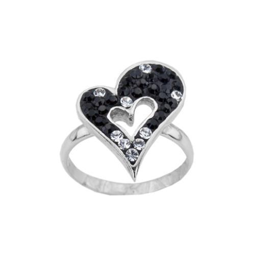 Сребърен пръстен с кристали от Swarovski®  SP709 Black and White