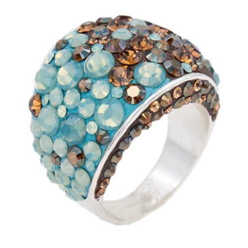 Сребърен пръстен с кристали от Swarovski®  SP710 Pasific Opal and Smoked Topaz