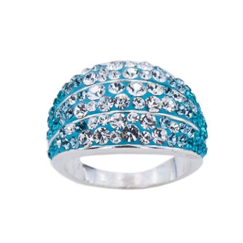 Сребърен пръстен с кристали от Swarovski®  SP714 Indicolite and Crystal