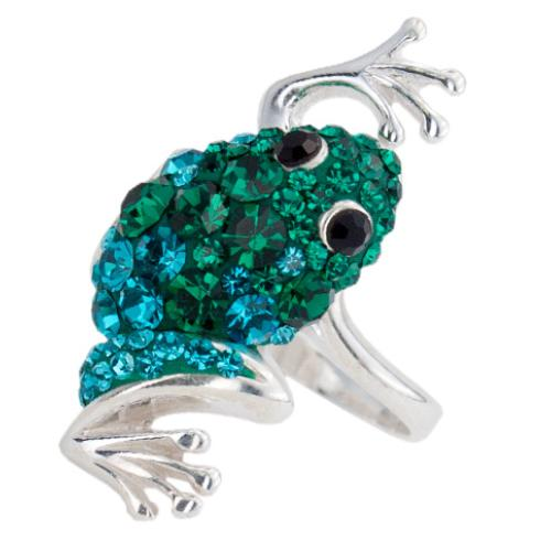 Сребърен пръстен с кристали от Swarovski®  SP716 Blue Zircon and Emerald