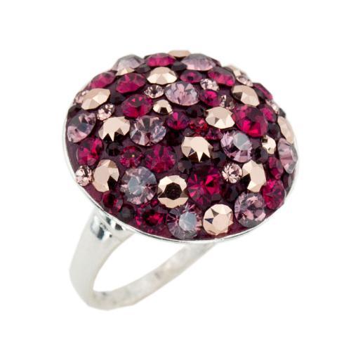 Сребърен пръстен с кристали от Swarovski® SP601 Ruby Rose Gold