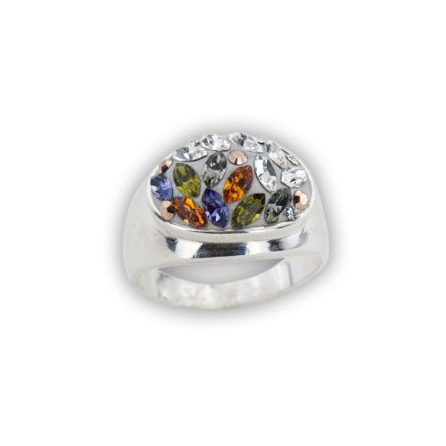 Сребърен пръстен с кристали от Swarovski® SP603 Colorful Drops