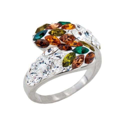Сребърен пръстен с кристали от Swarovski® SP633 Colorful Drops