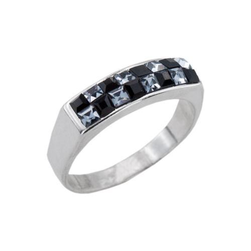 Сребърен пръстен с кристали от Swarovski® SP638 Jet and Steel квадрати