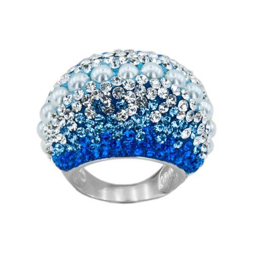 Сребърен Пръстен С Кристали От Swarovski® SP654 Sapphire Pearl