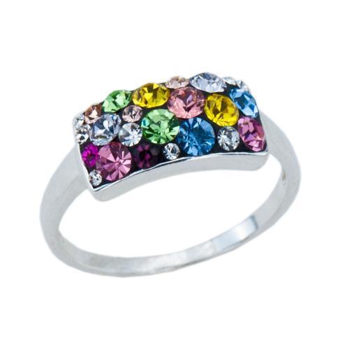 Сребърен пръстен с кристали от Swarovski® SP659 Multicolor