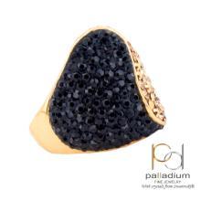 Сребърен пръстен с кристали от Swarovski® SP662 Black and Gold позлаен