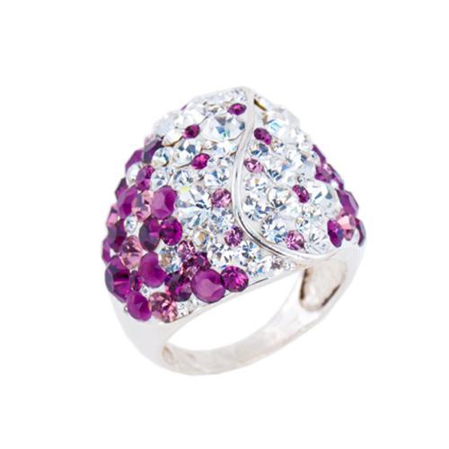 Сребърен пръстен с кристали от Swarovski® SP662 Amethyst and Crystal