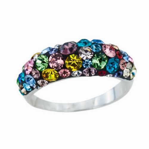 Сребърен Пръстен С Кристали От Swarovski® SP718 Multicolor