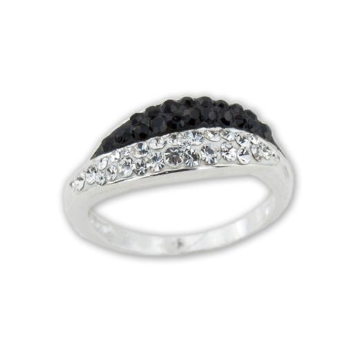 Сребърен Пръстен С Кристали От Swarovski® SP721 Black and White