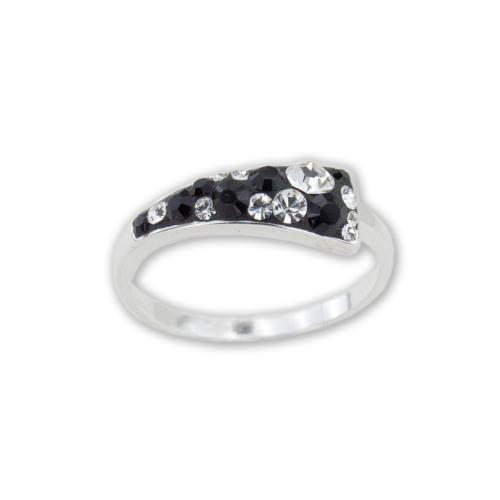 Сребърен Пръстен С Кристали От Swarovski® SP722 Black And White